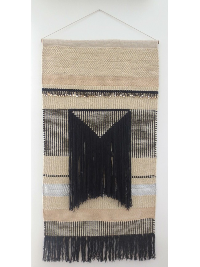 Tapis mural varanassi inca collection freeform weaving for Tapis coton noir et blanc