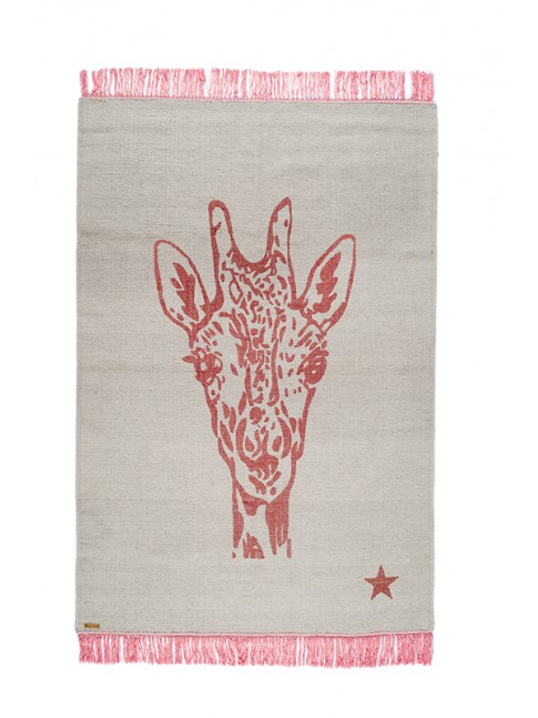 tapis varanassi pop motif girafe tissage kilim main tapis. Black Bedroom Furniture Sets. Home Design Ideas